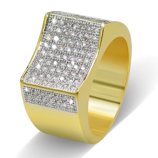 HIP Hop Rock Iced Out Ring Gold Color Plated Micro Pave CZ Stones Rings for Men Jewelry BR011