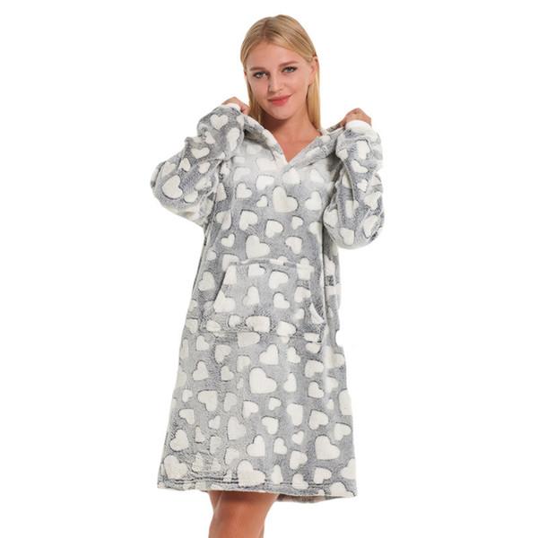 Jovem Bonito Impresso Coração Camisola Mulheres Inverno Grosso Sleepwear Mulheres Quente Com Capuz Casa Roupão Nighty M L