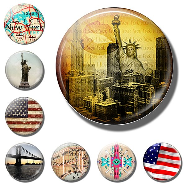 Nueva York 30 MM Imán de Nevera EE. UU. Recuerdo de Viaje Estatua de la Libertad American Refrigerador Magnético Pegatina Mapa bandera etiqueta engomada del refrigerador