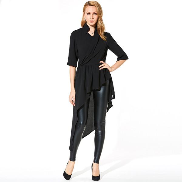 Femmes gothiques chemises asymétriques noir v cou chaîne demi manches manches minces bureau dames corée plissée mode longue chemisier chemises