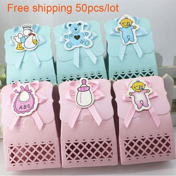 Cute Baby Shower Pralinenschachtel Party Supplies Dekoration Favor Box Junge Mädchen Papier Taufe Kid Favors Geschenktüte Choocolate Container