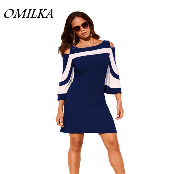 OMILKA Off Shoulder Plus Size Dress 2018 Summer Women Half Sleeve Patchwork  Blue Army Green Black Club Party Bodycon Mini Dress Dress 1 White Dresses  ...
