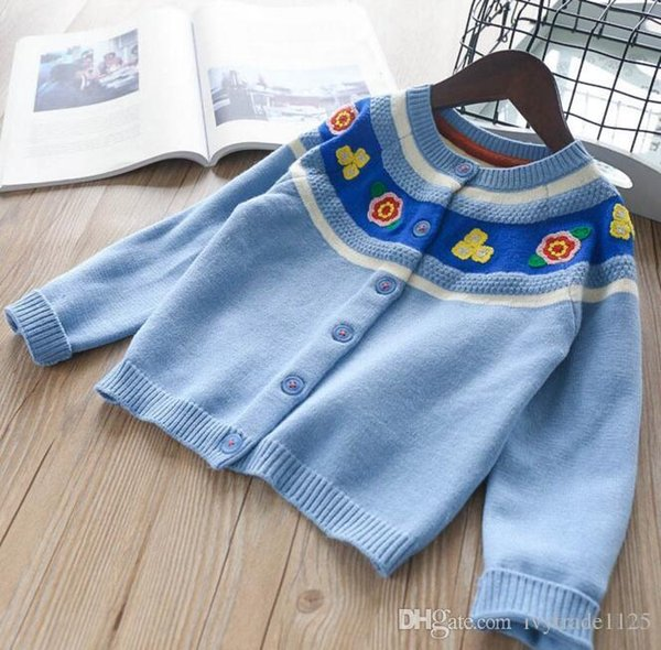 INS styles new hot selling Girl kids spring autumn long sleeve Pure cotton Cardigan flowers pattern knitted sweater for Girl
