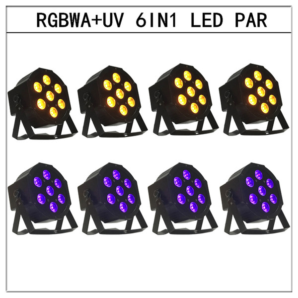 8pcs / 6in1 led Par light RGBWA + UV 6in1 flat par led dmx512 disco lights profesional stage dj equipment