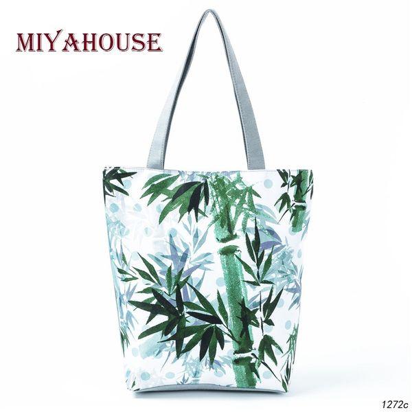 Miyahouse Elegant style Plant Deisgn Handbag Women Bamboo Printed Casual Tote Bags Female Daily Use Shoulder Bag Girls Beach Bag