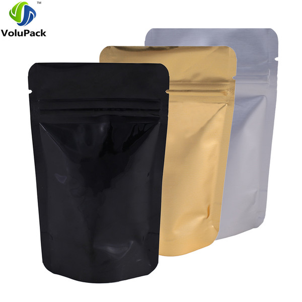 High Quality Multi Sizes 100 Silver Black Gold Mylar Foil Zip Lock Gusset Bag Stand Up Waterproof translucent storage bags Pouch