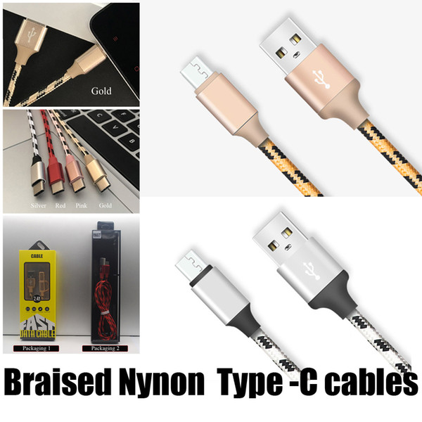 2.1A USB Cables 1M Braided Type-C Cable Fast Charger Sync Data Metal Cables for Smart Phone Lifespan with Gold Color Retail Package