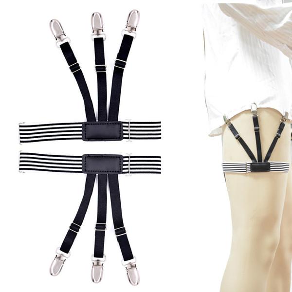 Mens Shirt Stays Garters Suspenders Braces For Shirts Gentleman Leg Elastic Men Shirt Suspenders Garter Holder Locking Clamps