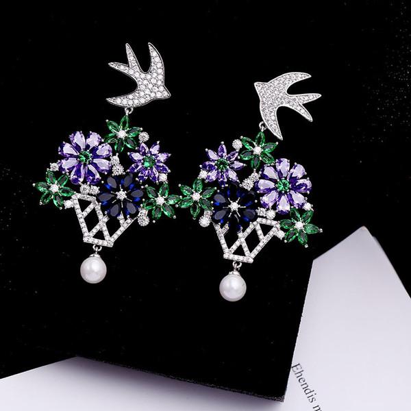 S925 CZ Earrings For Women Brand Design Cubic Zirconia Jewelry Fashion Flowers Bird Ear Studs Wholesale
