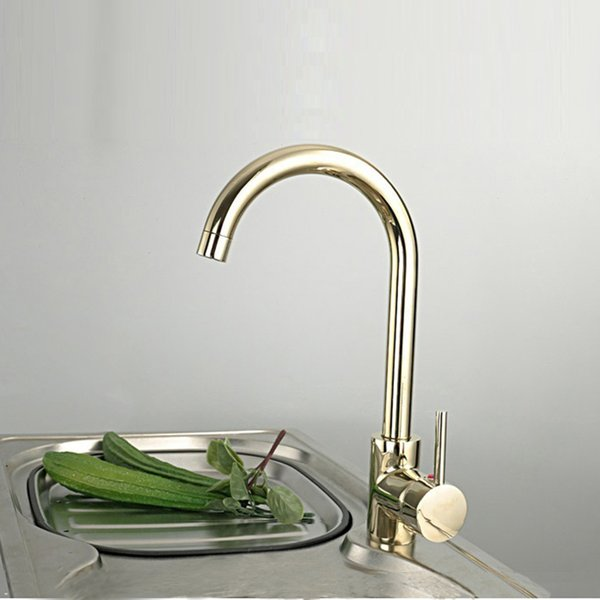 Contemporary contracted 100% Copper hot and cold kitchen faucet gold color sink vegetables basin mixers taps 1pcs/lot