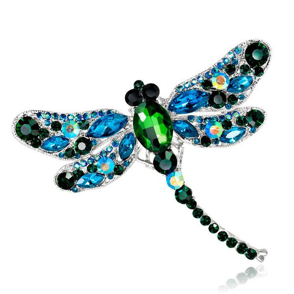 Crystal Animal Pin Vintage Spille libellula per le donne Grande insetto Strass Spilla Pin Fashion Dress Coat Accessori gioielli DB