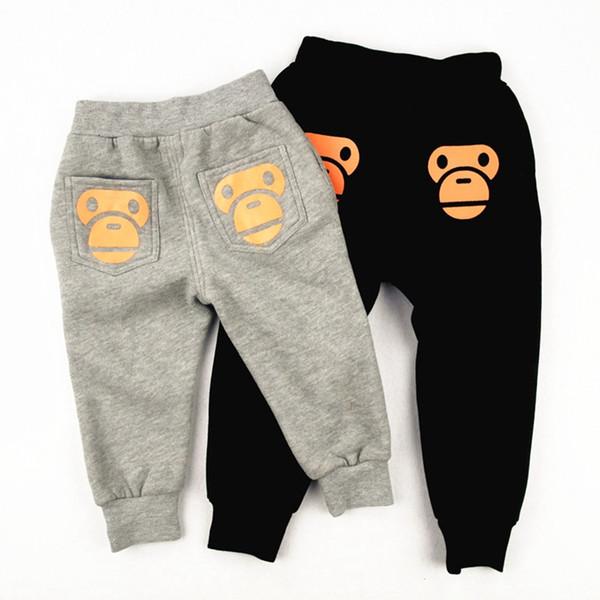 Winter Boys Girls Leggings Kids Pants Cartoon Bear Pattern Warm Plus Velvet Casual Trousers Baby Clothing