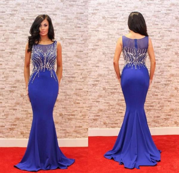 Elegant Navy Blue Long Evening Dress 2018 Jewel Beaded Slim Dinner Dress Mermaid Women Pageant Gown For Formal Prom Party