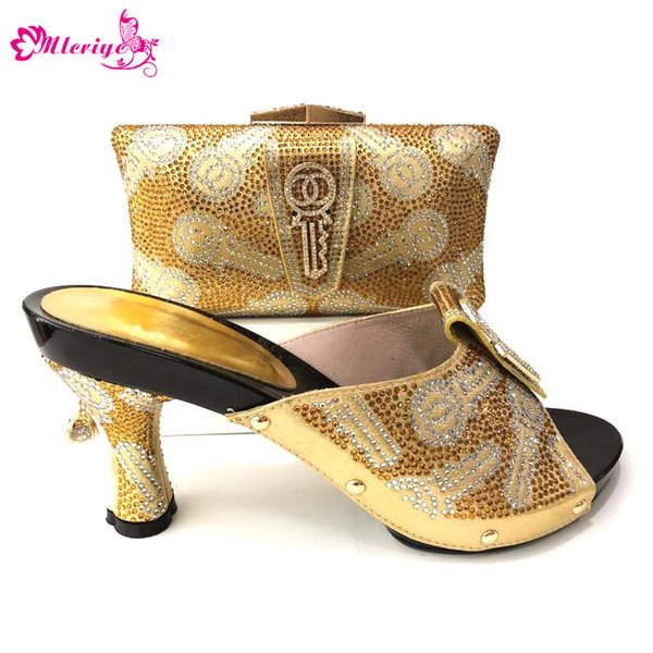 Gold Color Bridal wearing 2018 Italian Matching Shoes And Bag Set African Style Ladies Shoes And Bag To Match For Wedding Dress