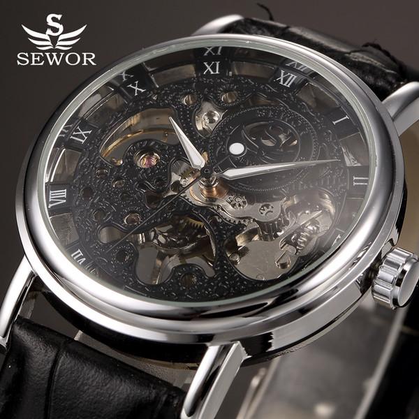 Top SEWOR Noir Skeleton mécanique Montre Homme Transparent creux Horloge Homme cuir Montres Relogio Masculino
