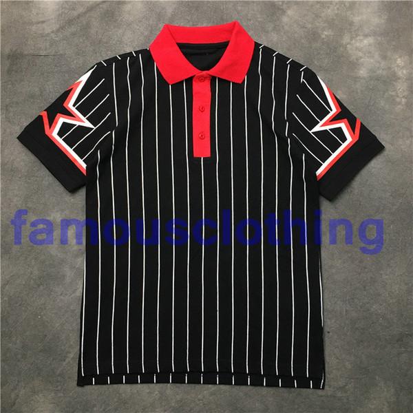 2018 hommes chauds revers noir rayures blanches imprimer des chemises polo Cuff pentagramme polo shirt coton décontracté polo shirt mode tee tops