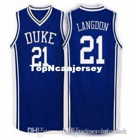 Factory Outlet #21 Trajan Langdon Duke Blue Devils Basketball Jersey blue white Embroidery Stitched Personalized Custom any size and name