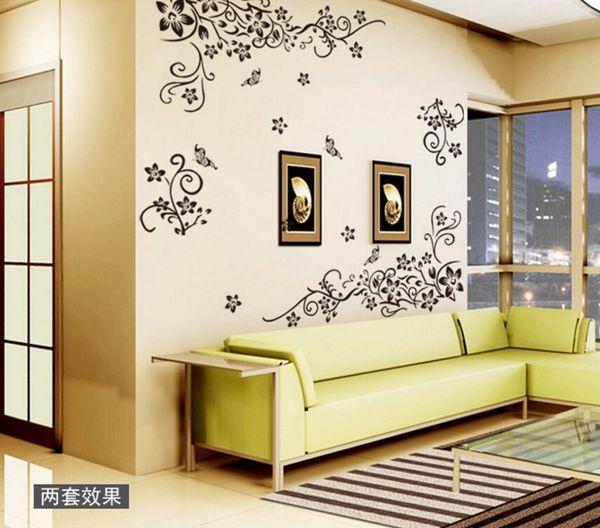 Sıcak DIY Wall Art Çıkartması Dekorasyon Moda Romantik Çiçek Duvar Sticker / Duvar Çıkartmaları Ev Dekor 3D Duvar Kağıdı Ücretsiz Kargo
