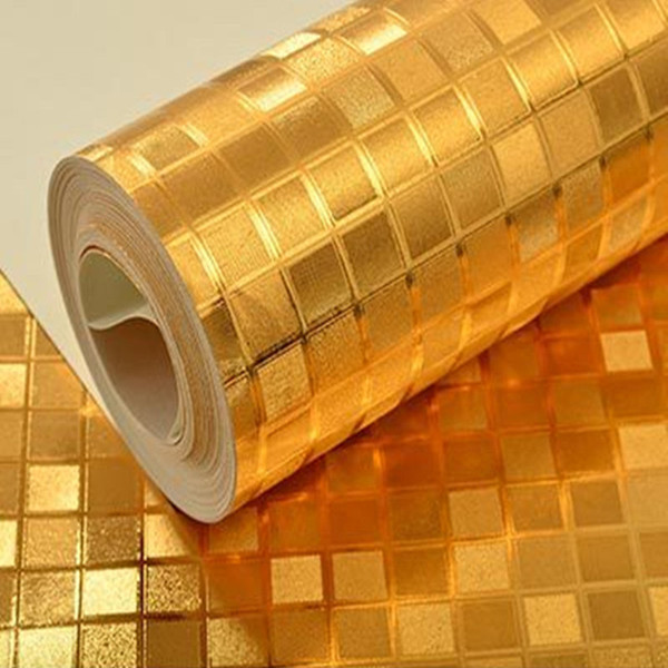 Luxo Prata / Ouro Glitter Wallpapers Papel De Parede De Papel De Parede De Ouro Ecrã KTV Teto Sólida Efeito De Metal Brilhante Rolo De Papel