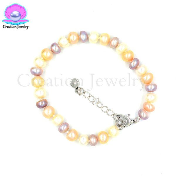 8 Inches Fashion Freshwater Pearls Bracelet Birthday Wedding Party Women Kids Girlfriend Gifts Adjustable Extenable Hand Chain