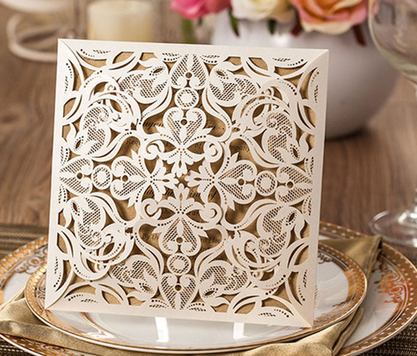 50pcs Sample White Laser Cut Wedding Invitations Card Post Greeting Cards With Ribbon Printable Baby Shower Event Party Supplies