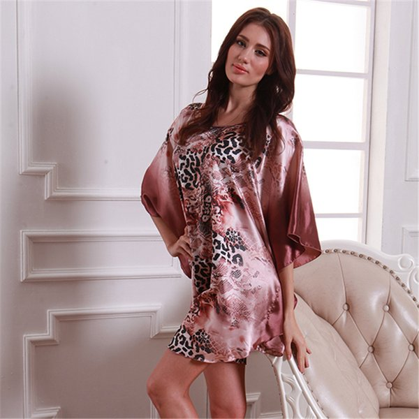 Women Pattern Batwing Sleepwear Nightgown Silk Blend Robes Sleep dress
