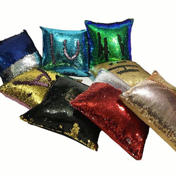 Paillettes Federa Cuscino Magico Rivestimenti Cuscino Rivestibile Divano Luminoso Glitter Cuscino Auto Decorativo Decorativo Federa Vendita Calda 11xa J