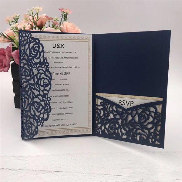 top popular 2019 Navy Blue Laser Cut Pocket Wedding Invitation Suites Customizable Invites With Envelope Wedding Accessory Blank Inner Custom 2021