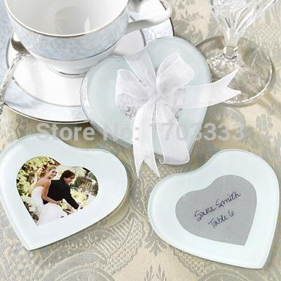 wedding favor gift and giveaways for guest -- European style Heart Shape Glass Photo Coaster party favor keepsake #GTE34