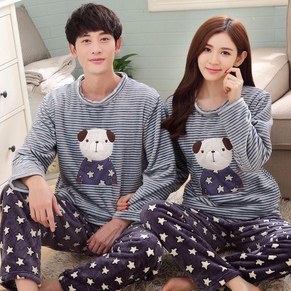 Brand Autumn Winter Long Sleeve Couple Cartoon Dog Pyjamas Sets Women Thick Warm Coral Fleece Navy Pajamas Flannel Men Sleepwear