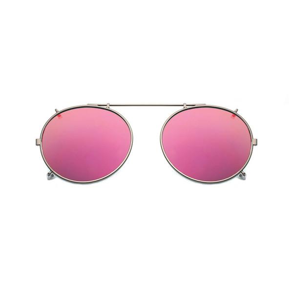 Polarizada Rodada Clipe Em Óculos De Sol Unisex Rosa Revestimento Espelho Óculos de Sol de Condução de Metal Oval Sombra Clip On Glasses uv400