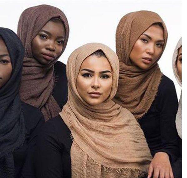 55 цветов женщины макси хиджабы Шали негабаритных Исламская голова обертывания мягкие длинные мусульманские изношенные креп премиум хлопок равнина хиджаб шарф