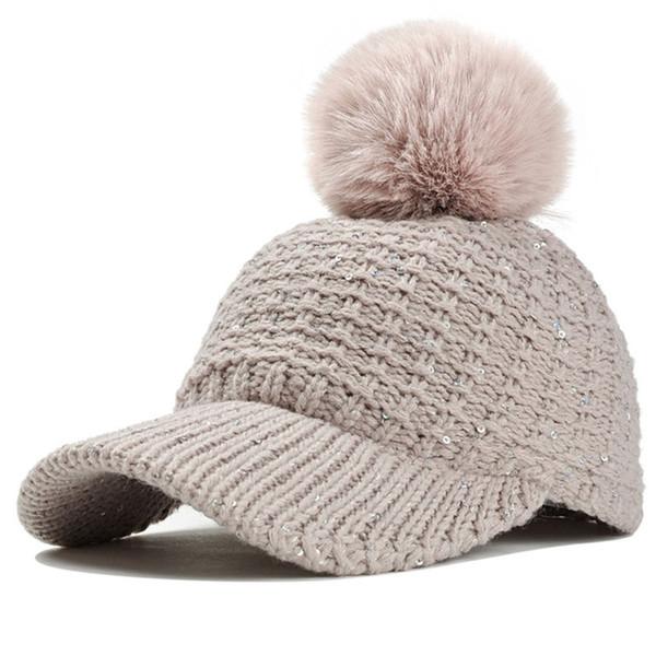 Mode hiver paillettes femmes tricoter des chapeaux avec bord en fausse fourrure pompon chapeau chaud polaire doublé Tan noir