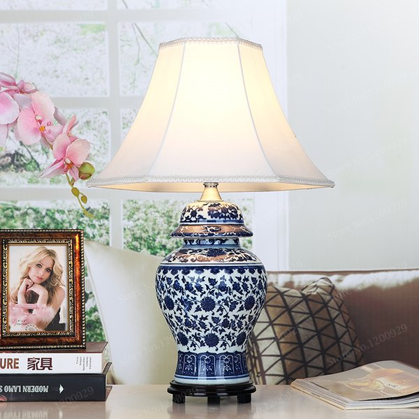 2019 Porcelain Chinese Style Table Lamp Blue White Porcelain Desk Light  Vintage Home Decoration Table Lamp Bedroom Living Room Lights From ...