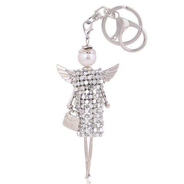 Frete grátis boneca bonito asas de anjo chaveiro de cristal strass chaveiro mulheres saco charme chaveiro anel chave do carro pingente por atacado