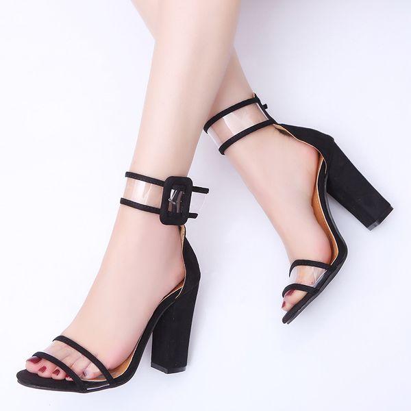 2018 Novas mulheres da moda de salto alto sexy confortável sandálias oco sapatos de mulher fivela de salto alto peep toe senhoras sapatos zapatos mujer