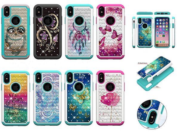 2 in 1 Diamond Shockproof Hard PC+TPU Owl Flower Butterfly Hybrid Bling Case for iphone Xr Xs Max 7G 8G 6S PLUS Samsung S8 S9 PLUS NOTE9