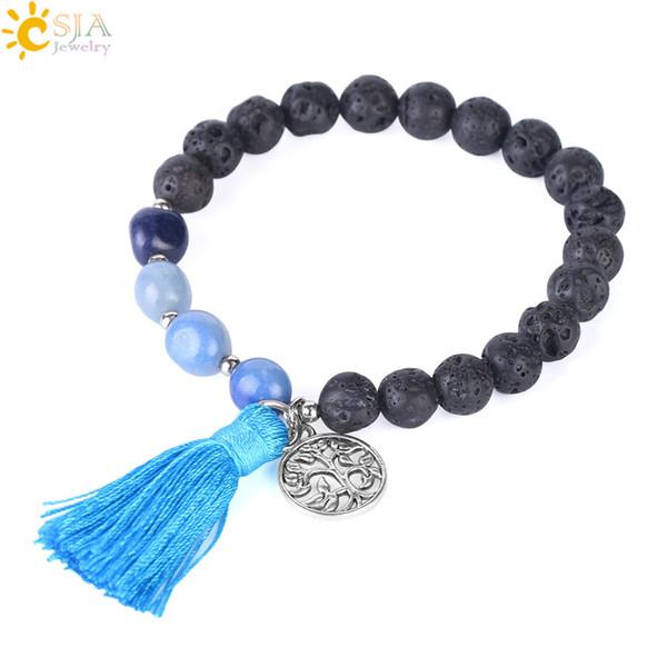 CSJA Boho Tassel Bracelet 8mm Bead Natural Stone Bracciali Black Lava Rock Pulseira Feminina Albero della vita Fascino Gioielli corda elastica F396