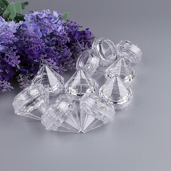300 X 5G / 5ML Clear Jar a forma di piccolo diamante per crema cosmetica vaschetta per contenitori
