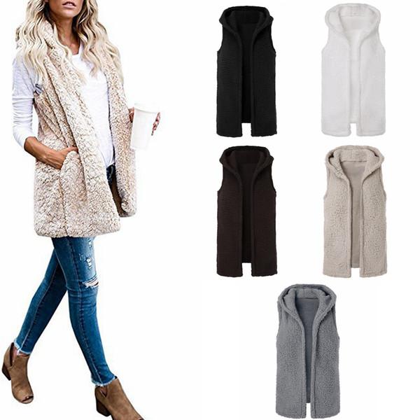 5styles Sherpa vest sleeveless warm cardigan warm Plush lint wool Waistcoat spring winter hooded sports outwear coat jackets FFA1015 5pcs