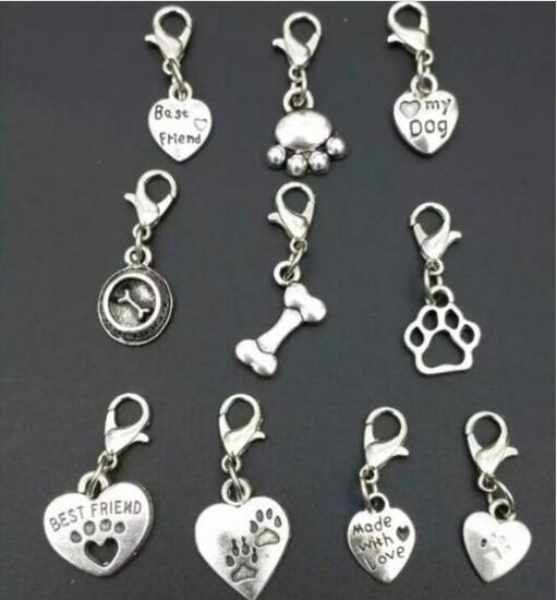 100 pcs / lot Haute qualité Mélange Animal Chien Pattes Prints OS Chien Bol Charme Pendentif Collier Bracelet DIY Bijoux Faire Trouver A40