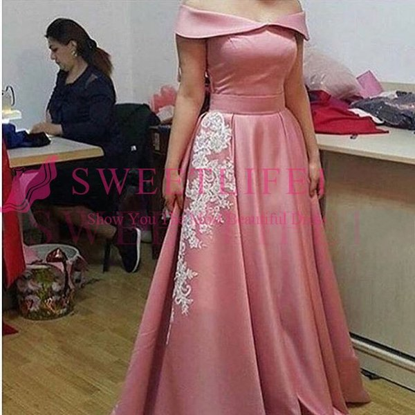 2018 Rose Pink Dubai Styke Evening Dresses Off The Shoulder A Line Sweep Train Satin White Appliques Formal Occasion Prom Dresses Custom