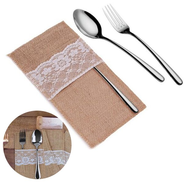 New high quality Natural Jute Lace Pockets Rustic Wedding Tableware Packaging Fork & Knife Burlap Holder Cutlery Pocket