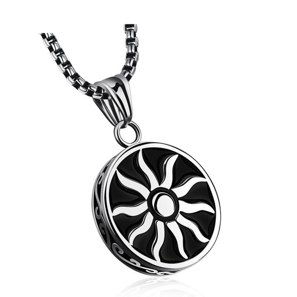 Fashion Men Hip Hop Sun Pendant Necklaces Jewelry Stainless Steel Silver Chain Men Necklace For Men