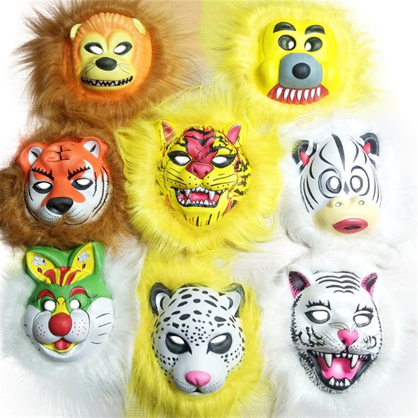 Plush animal masks lion leopard Fox dog children EVA mask Halloween costumes mask toy gift for KIDS Hallowmas party cosplay prop headgear