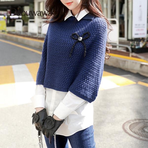Dabuwawa Navy Blue Turn-down Collar Sweater Female Casual Knitwear Jacket Female Autumn Pullover #D17DKT057