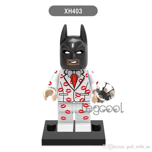10 PCS XH 403 Kiss Kiss Tuxedo Batman Figure Keychain DC wholeSale Leopard Suit Batmen Cash Damian Wayne Building Blocks Sets Toys for child