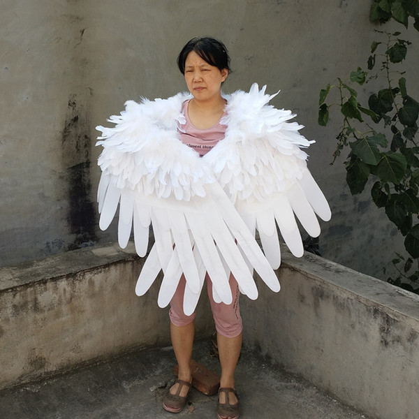 High quality white soft feather angel wings Black Devil wing for game cosplay Children's Day Wedding Party deco shooting props wings