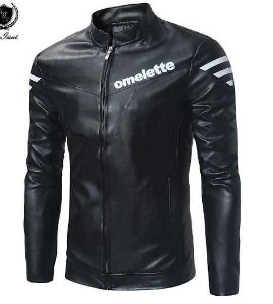 2018 neue Marke Mann Jacken Hop Casual feste weiße Patch Designs dünne Pilot Mantel PU Leder Herren Jacken
