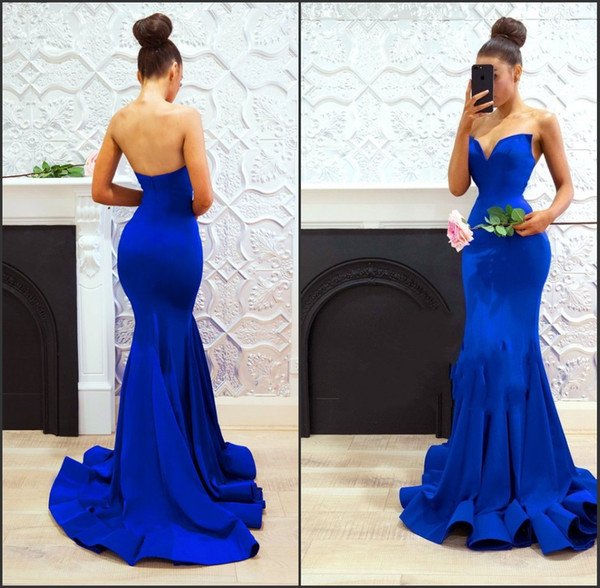Bretelles Ajustées Longue Balayage Train Royal Blue Mermaid Sweetheart Robes De Bal Trompette Maid Of Honor Dress sukienki weselne
